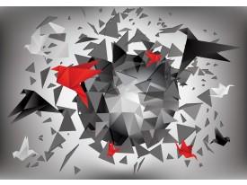 Fotobehang Vlies | 3D, Origami | Rood | 368x254cm (bxh)