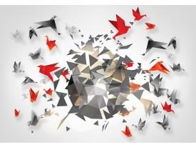 Fotobehang 3D, Origami | Grijs | 312x219cm