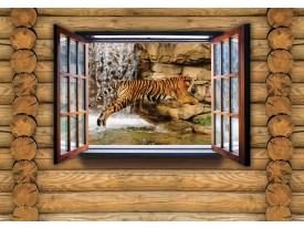 Fotobehang Hout, Tijger | Bruin | 152,5x104cm