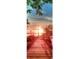 Deursticker Muursticker Zonsondergang | Rood | 91x211cm