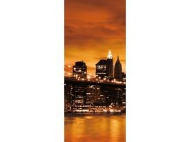 Deursticker Muursticker New York | Oranje, Bruin | 91x211cm