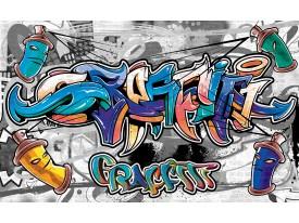 Fotobehang Graffiti | Grijs, Blauw | 312x219cm
