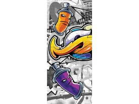 Deursticker Muursticker Graffiti | Geel, Grijs | 91x211cm