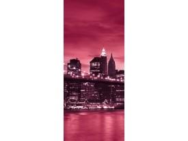 Deursticker Muursticker New York | Rood, Roze | 91x211cm
