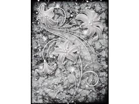 Fotobehang Papier Bloemen   Grijs   184x254cm