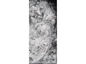 Deursticker Muursticker Bloemen | Zilver | 91x211cm