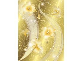 Fotobehang Papier Bloemen | Goud | 184x254cm