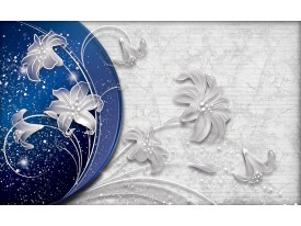 Fotobehang Vlies   Bloemen, Modern   Blauw   368x254cm (bxh)