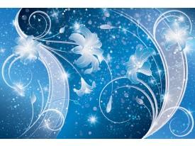 Fotobehang Papier Bloemen, Modern | Blauw | 254x184cm