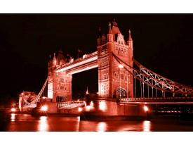 Fotobehang London, Brug | Rood | 208x146cm