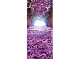 Deursticker Muursticker Bloemen | Paars | 91x211cm