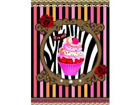 Fotobehang Papier Cupcake, Strepen | Roze | 184x254cm