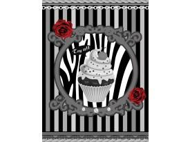 Fotobehang Papier Cupcake, Strepen   Grijs   184x254cm