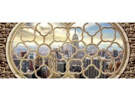 Fotobehang Skyline, Muur | Grijs | 250x104cm