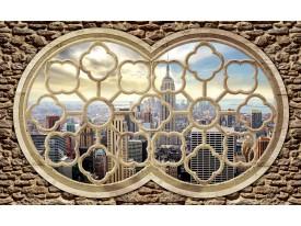 Fotobehang Papier Skyline, Muur | Grijs | 368x254cm
