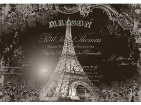Fotobehang Papier Eiffeltoren, Parijs   Sepia   254x184cm