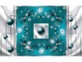 Fotobehang Modern, Slaapkamer | Zilver, Turquoise | 208x146cm