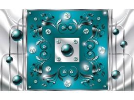 Fotobehang Vlies | Modern, Slaapkamer | Zilver, Turquoise | 368x254cm (bxh)