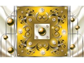 Fotobehang Modern, Slaapkamer | Zilver, Geel | 152,5x104cm
