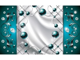 Fotobehang Modern, Slaapkamer | Zilver, Turquoise | 152,5x104cm