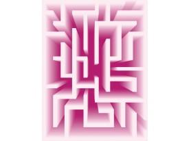 Fotobehang Papier 3D | Roze, Wit | 184x254cm