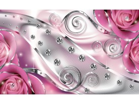 Fotobehang Vlies | Design, Rozen | Zilver, Roze | 368x254cm (bxh)