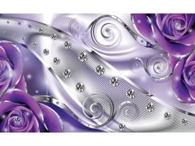 Fotobehang Vlies | Design, Rozen | Zilver, Paars | 368x254cm (bxh)