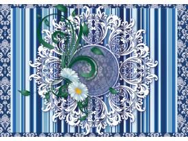 Fotobehang Vlies   Bloem, Strepen   Blauw   368x254cm (bxh)