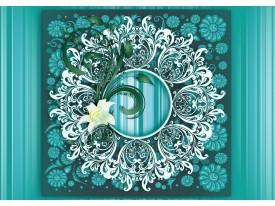 Fotobehang Bloem, Modern | Turquoise | 208x146cm