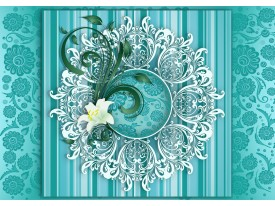 Fotobehang Bloem, Modern   Turquoise   312x219cm