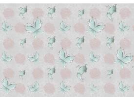 Fotobehang Papier Vlinder, Rozen | Roze, Turquoise | 368x254cm