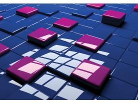 Fotobehang Vlies | 3D | Blauw, Roze | 368x254cm (bxh)