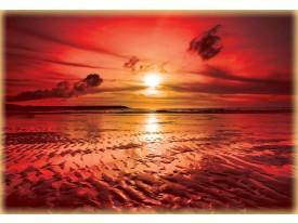 Fotobehang Zee, Zonsondergang | Rood | 416x254