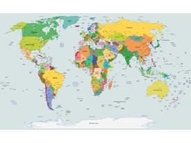 Fotobehang Vlies | Wereldkaart | Geel, Blauw | 368x254cm (bxh)