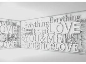Fotobehang Papier 3D, Tekst | Grijs | 368x254cm