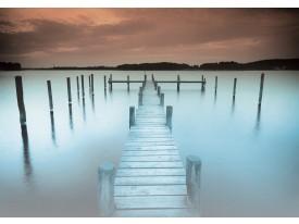 Fotobehang Brug, Natuur | Blauw | 208x146cm