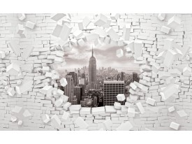 Fotobehang Papier Muur, Steden | Grijs | 254x184cm