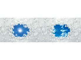 Fotobehang Vlies Muur, Zon | Blauw | GROOT 832x254cm
