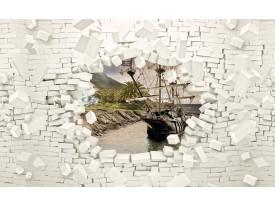 Fotobehang Muur, Boot | Wit | 104x70,5cm