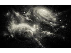 Fotobehang Vlies | Planeten | Zwart, Grijs | 368x254cm (bxh)