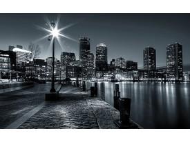 Fotobehang Papier Skyline, Stad | Zwart, Grijs | 254x184cm