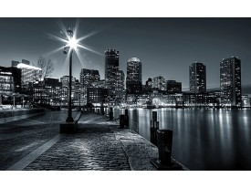 Fotobehang Papier Skyline, Stad | Zwart, Grijs | 368x254cm