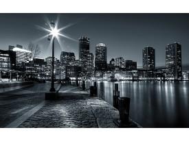 Fotobehang Vlies | Skyline, Stad | Zwart, Grijs | 368x254cm (bxh)