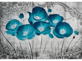 Fotobehang Bloemen, Klaproos | Turquoise | 152,5x104cm