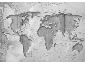 Fotobehang Papier Wereldkaart, Muur | Grijs | 254x184cm