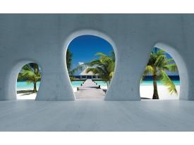 Fotobehang Papier Strand, Muur | Blauw | 368x254cm