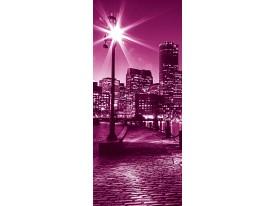 Deursticker Muursticker Steden | Roze | 91x211cm