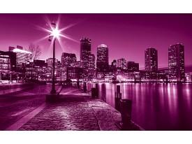 Fotobehang Vlies | Skyline | Roze, Paars | 368x254cm (bxh)