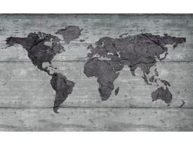 Fotobehang Wereldkaart, Hout | Grijs | 152,5x104cm