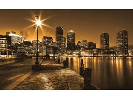 Fotobehang Papier Skyline | Geel, Bruin | 254x184cm